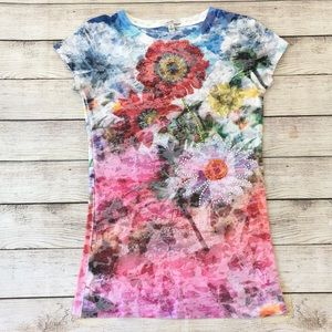 Cache Floral Embellished Rhinestone Top S